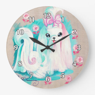 Maltese Cute Puppy Dog Large Clock