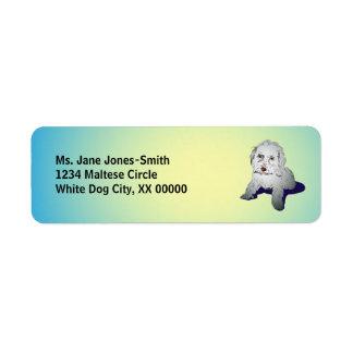 Maltese Cute Puppy Return Address Label
