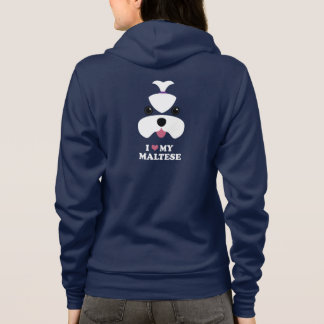 Maltese cutesy face with slogan hoodie