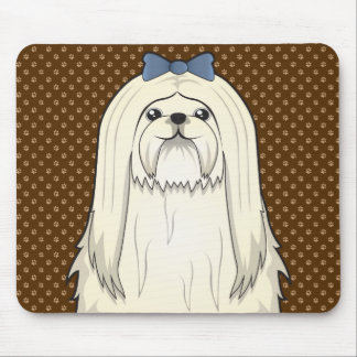 Maltese Dog Cartoon Paws Mouse Pad