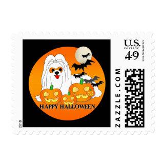 Maltese Dog Halloween Postage