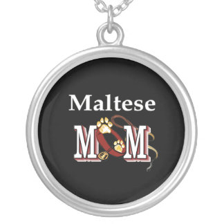Maltese Dog Mom Silver Plated Necklace
