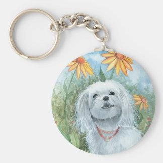 Maltese Dog Puppy Keychain by Molly Harrison