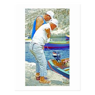 Maltese Fishermen (3) Postcard