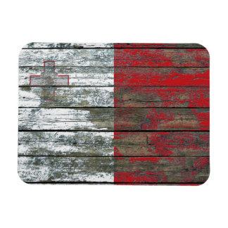 Maltese Flag on Rough Wood Boards Effect Magnet