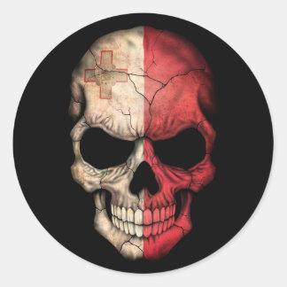 Maltese Flag Skull on Black Stickers