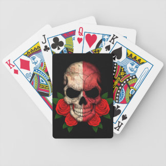 Maltese Flag Skull with Red Roses Bicycle Poker Deck