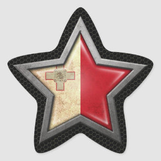 Maltese Flag Star with Steel Mesh Effect Star Sticker