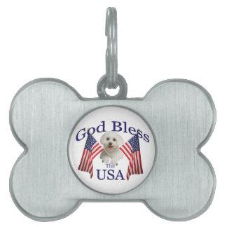 Maltese God Bless USA Pet ID Tag