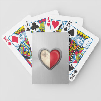 Maltese Heart Flag Stainless Steel Effect Bicycle Playing Cards
