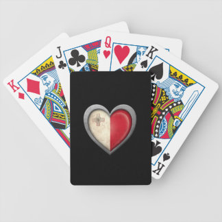 Maltese Heart Flag with Metal Effect Bicycle Poker Cards