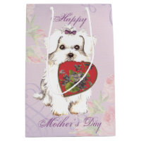Maltese Heart Mom Medium Gift Bag