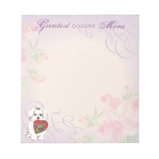 Maltese Heart Mom Notepad
