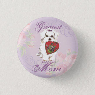 Maltese Heart Mom Pinback Button