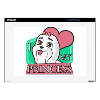 """Maltese - I love my princess! Decals For 15"""" Laptops"""