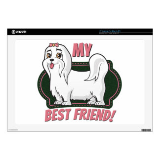 "Maltese is my best friend 17"" laptop skins"
