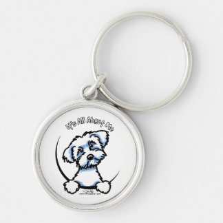 Maltese Its All About Me Silver-Colored Round Keychain