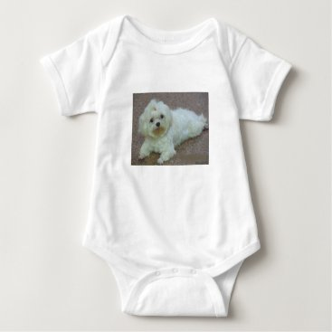 Beach Themed maltese laying baby bodysuit