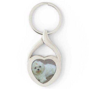 Beach Themed maltese laying keychain