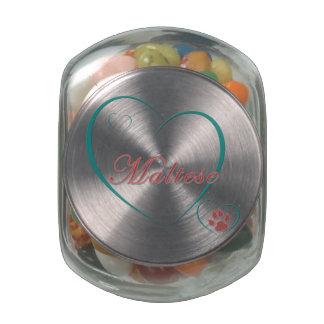 Maltese Love Glass Candy Jars