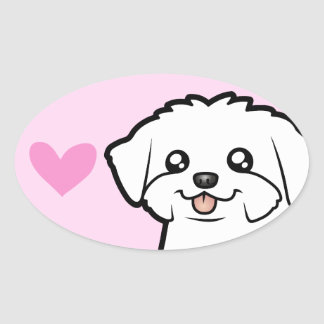 Maltese Love (puppy cut) Oval Sticker