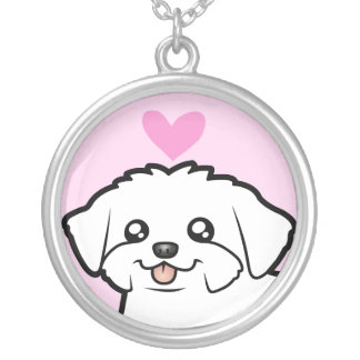 Maltese Love (puppy cut) Silver Plated Necklace