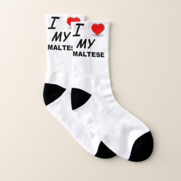 Beach Themed maltese love socks