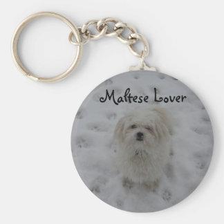 Maltese Lover Basic Round Button Keychain