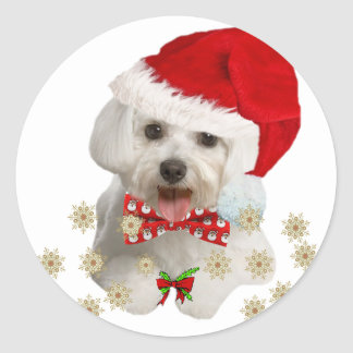 Maltese Merry Christmas Gifts Classic Round Sticker