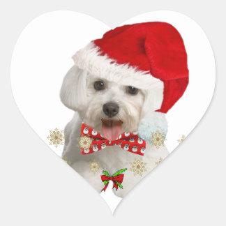 Maltese Merry Christmas Gifts Heart Sticker