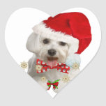 Maltese Merry Christmas Gifts Heart Stickers