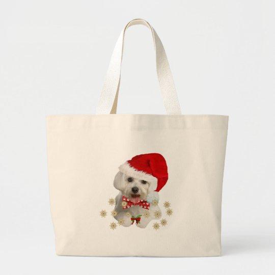 Maltese Merry Christmas Gifts Large Tote Bag