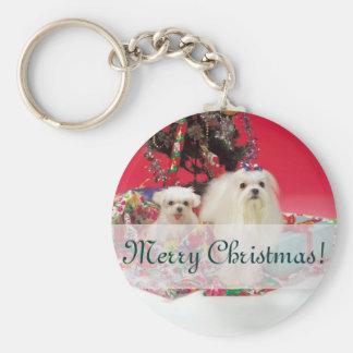 Maltese Merry Christmas Keychain