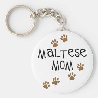 Maltese Mom Basic Round Button Keychain