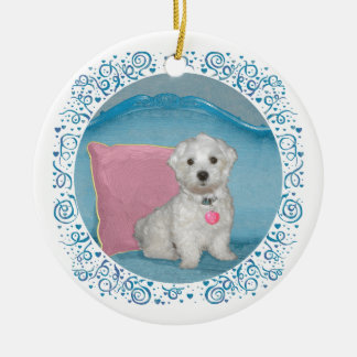 Maltese on Turquoise Ornaments