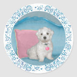 Maltese on Turquoise Stickers