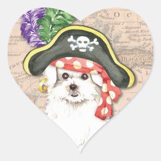 Maltese Pirate Heart Sticker