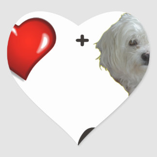 Maltese + Poodle = Moodle Heart Sticker