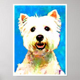 """Maltese Pop Art Watercolor 18"""" x 24"""" Poster"""