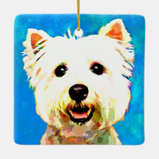 Maltese Pop Art Watercolor Portrait Ceramic Ornament