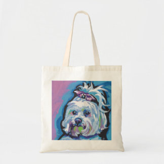 Maltese Pop Dog  Art Tote Bag