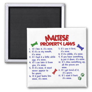 MALTESE Property Laws 2 2 Inch Square Magnet