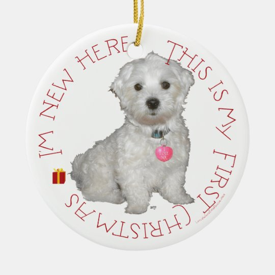 Maltese Pup First Christmas Ceramic Ornament