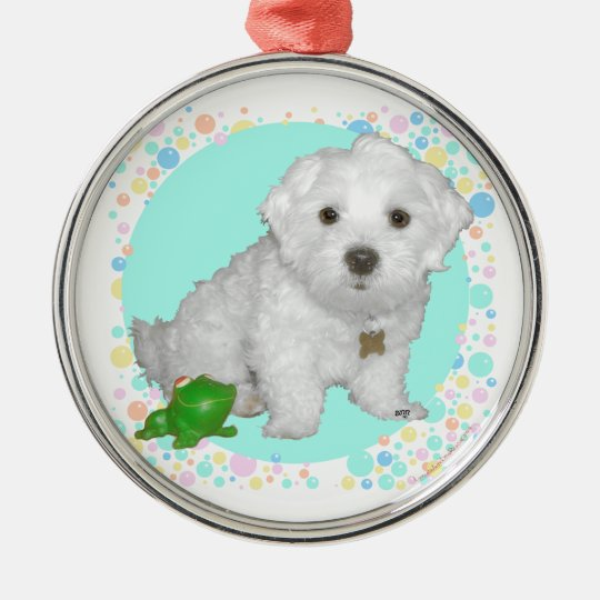Maltese Pup with Bubbles Metal Ornament