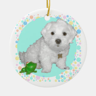 Maltese Pup with Bubbles Christmas Tree Ornaments