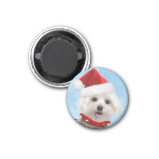 Maltese Puppy Christmas Magnet