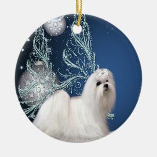 Maltese Puppy Dog Blue Christmas Ornament