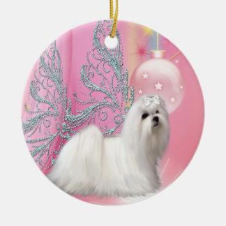 Maltese Puppy Dog Pink Christmas Ornament