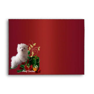 Maltese Puppy Dog Red Christmas Holiday Envelopes
