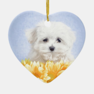Maltese puppy Double-Sided heart ceramic christmas ornament